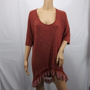 POL Size Small Lace Trim Tunic Dress Top